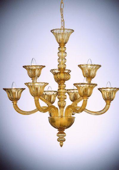 "Amber Murano Glass Chandelier ""Valentino"" With 9 Lights"