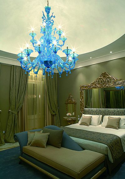 """Light Blue Murano Chandelier """"Eclipse"""" With 14+7 Lights"""