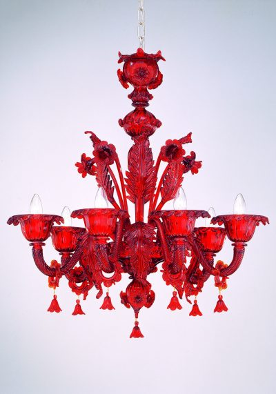 """Red Murano Chandelier """"Marte"""" With 6 Lights"""