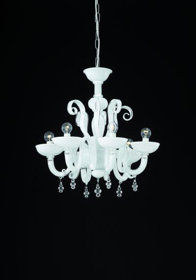 "Venetian Glass Chandelier ""Neve"" With 6 Lights"