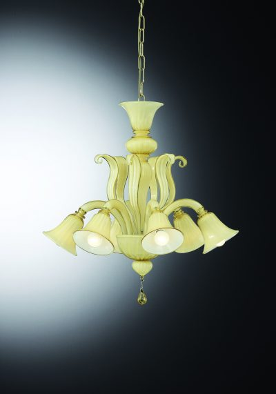 """Venetian Glass Chandelier """"CA' Dario"""" With 6 Lights"""