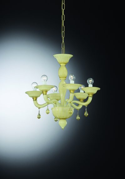 """Chandelier in Murano Glass"""" Barena"""" With 6 Lights"""