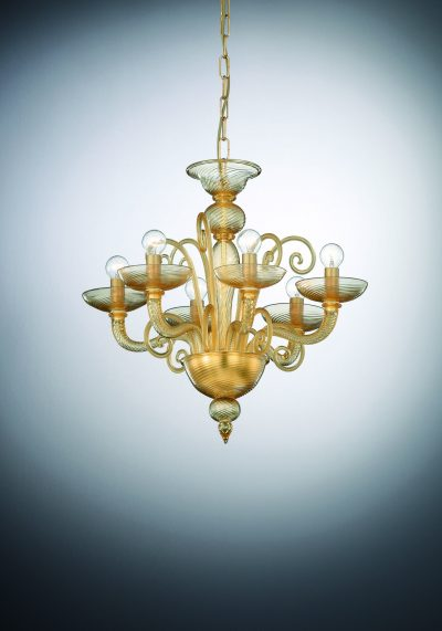 "Murano Art Glass Chandelier ""Ca' Foscari"" With 6 Lights"