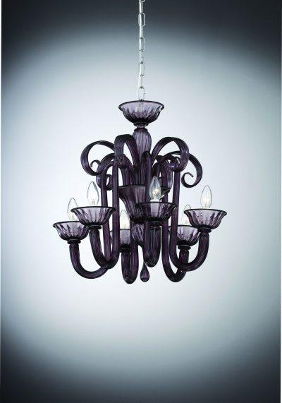 "Amethyst Murano Glass Chandelier ""Grimani"" With 6 Lights"