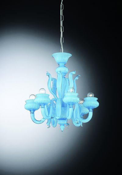 "Light Blue Murano Chandelier ""Laguna"" With 6 Lights"