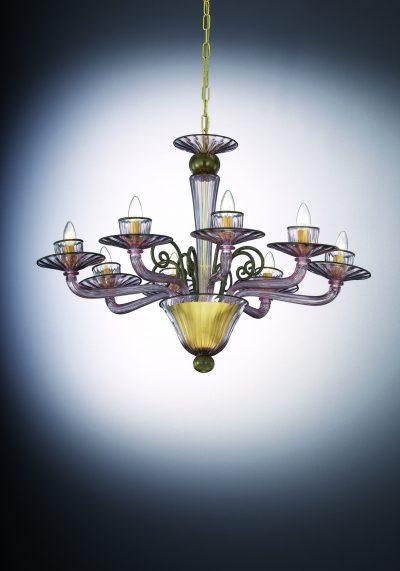 Demetra – Lampadario Vetro Di Murano Con 8 Luci
