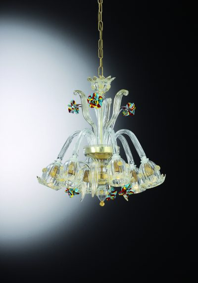 """Crystal Gold Glass Chandelier """"Carmini"""" With 6 Lights"""
