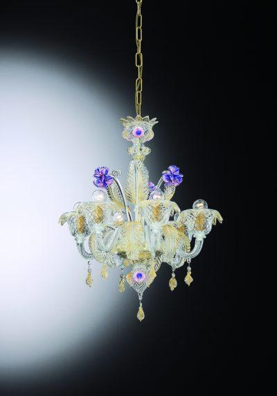 "Venetian Glass Chandelier ""Giobbe"" With 6 Lights"