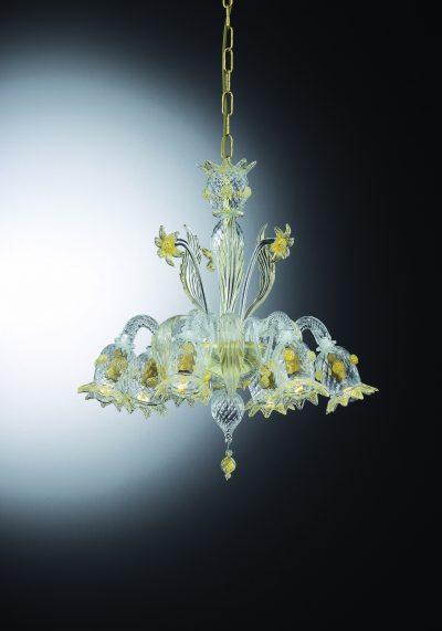 "Venetian Glass Chandelier ""BASEGIO"" With 6 Lights – Murano Glass"