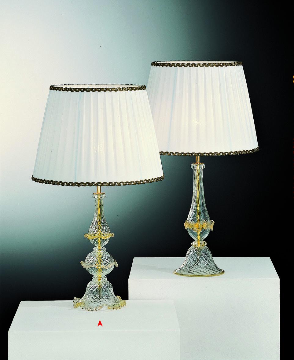Badajoz Lampada Da Tavolo In Vetro Murano Con Oro 24kt Made Murano Glass