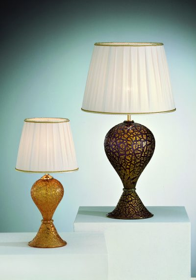 2 Venetian Glass Lamps With Gold 24 Carats – Murano Glass