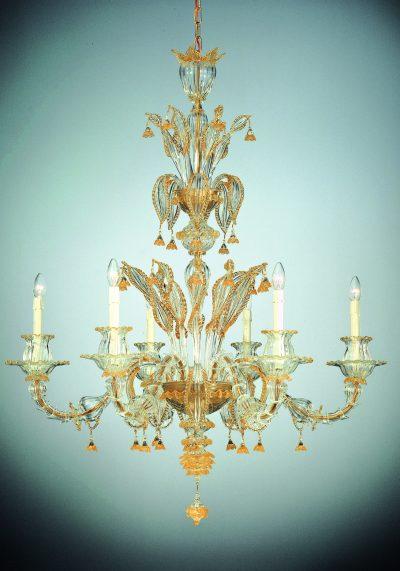 "Special Venetian Glass Chandelier ""Geremia"" With 6 Lights – Murano Art"