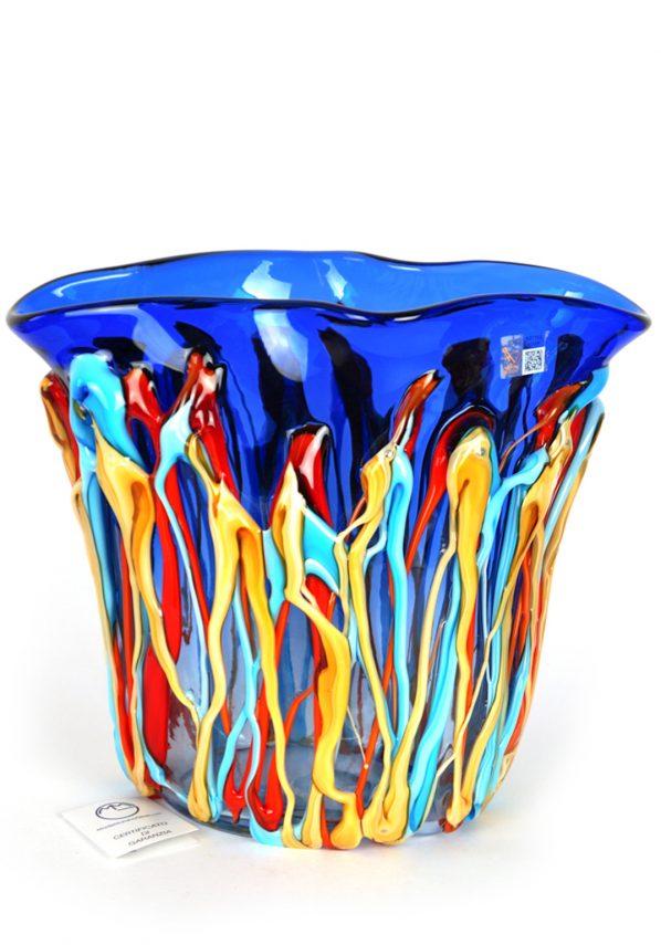 Blureys - Vaso Vetro Soffiato Blu Fili Multicolore