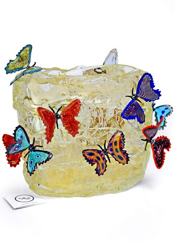 Butterflies On Ice - Murano Blown Glass Vase Gold Leaf 24kt