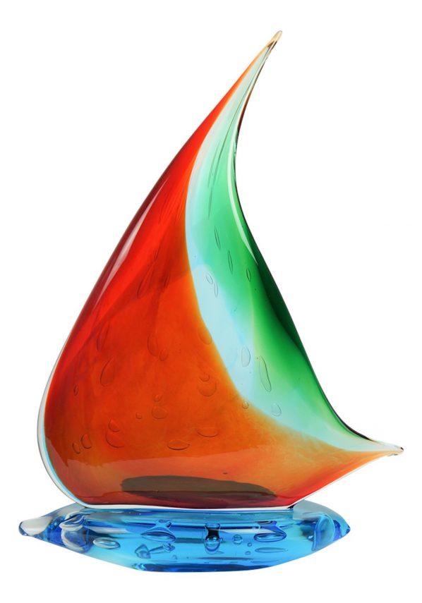 Murano Glass Sailboat Red Green