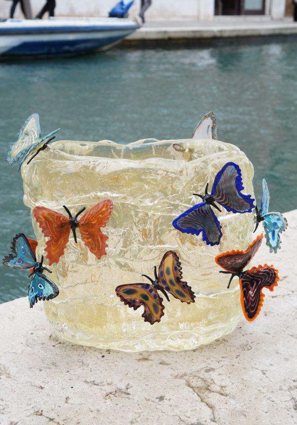 Butterflies On Ice - Vaso Farfalle Foglia Oro 24kt Vaso Murano