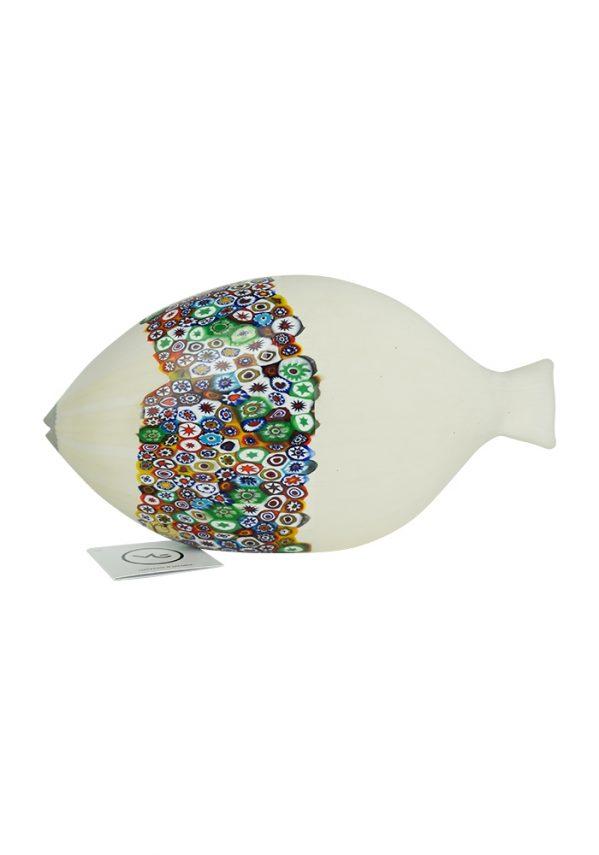 Scultura Pesce Bianco E Murrina Millefiori Murano Pesce Biano