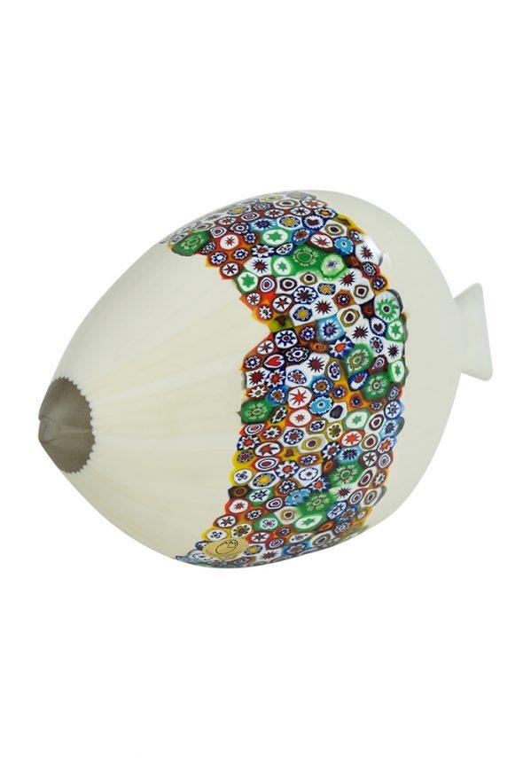 Scultura Pesce Bianco E Murrina Millefiori Scultura Murano Pesce