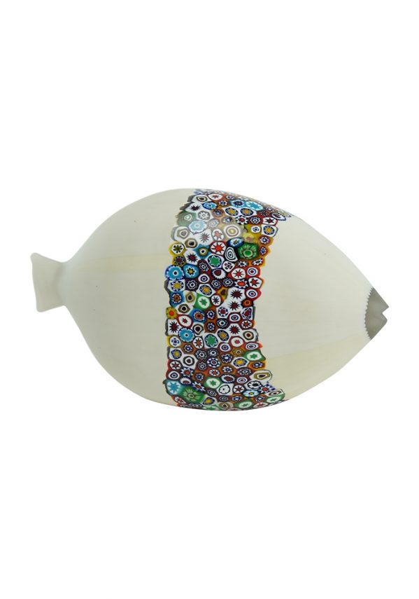 Murano Sculpture White Fish With Murrina