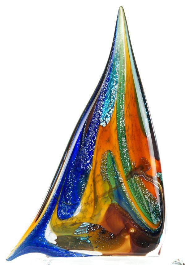 Barca A Vela Calcedonio E Foglia Argento Murano Glass Sailboat