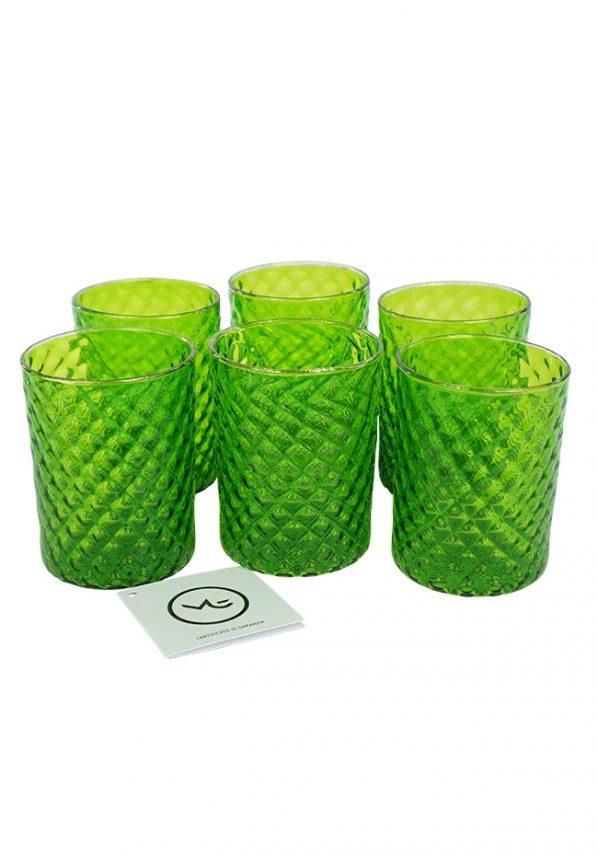 Union - Set Di 6 Bicchieri Verde E Oro Murano Glasses