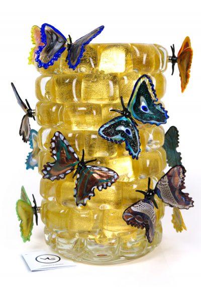 The Wall Butterflies – Vaso Farfalle Foglia Oro 24kt