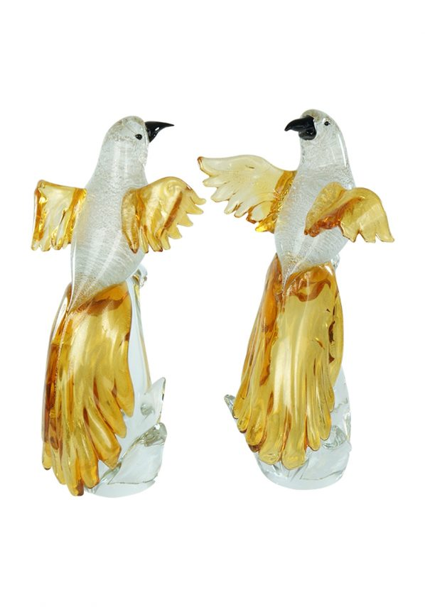 Pair of Gold and Silver Murano Parrots Sculpture
