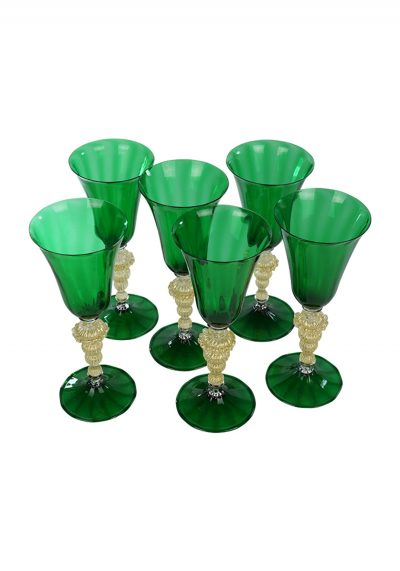 Set of 6 Murano Glass Green Goblets With Gold 24Kt