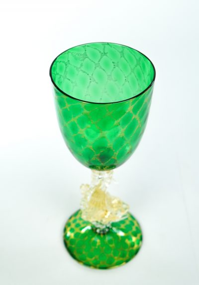 Olivia - Murano Glass Green Goblet With Gold 24Kt