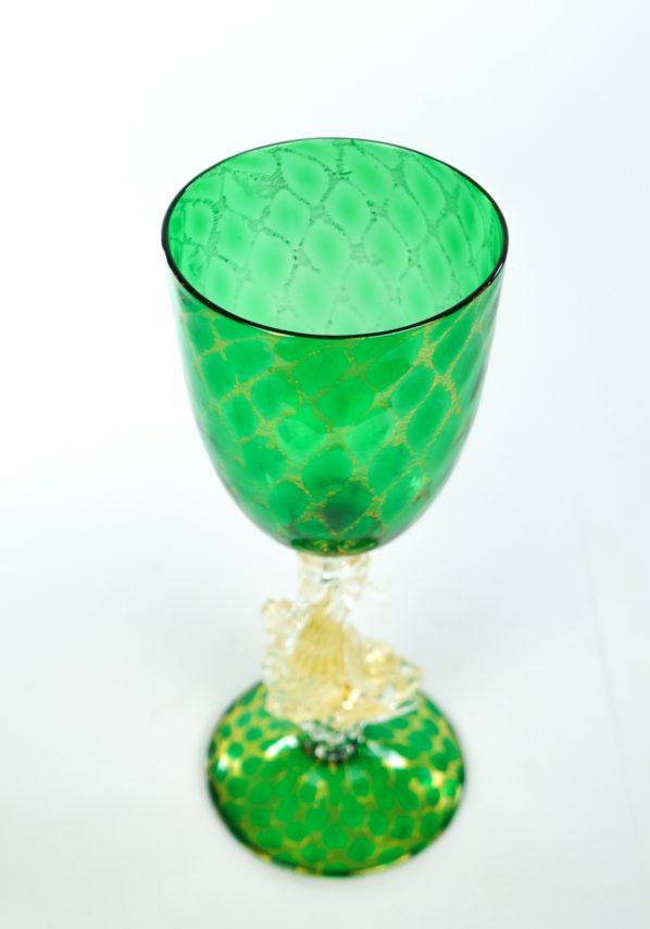 Calice Verde Foglia Oro 24kt - Vino E Champagne Murano Wine Glasses