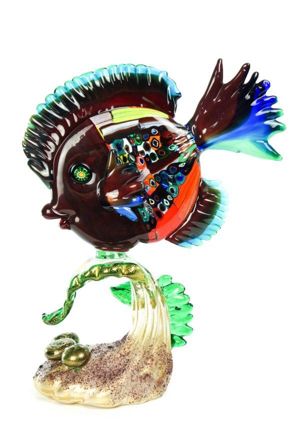 Scultura Pesce Tropicale Su Alga Murano Fish