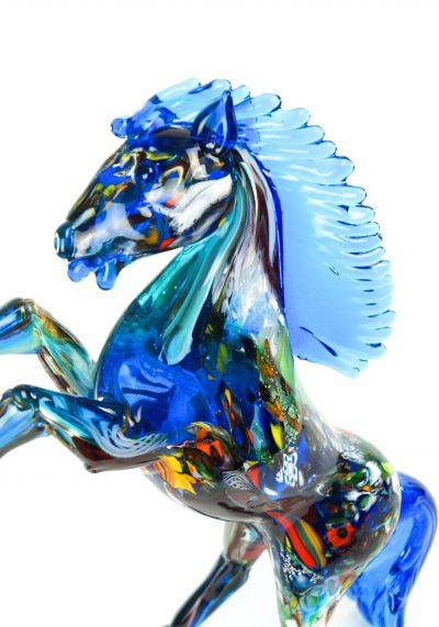 Sculpture Murano Horse Fantasy Light Blue