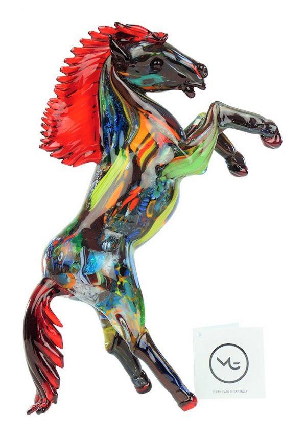 Scultura Cavallo Murano Fantasia Rosso Horse Murano Glass