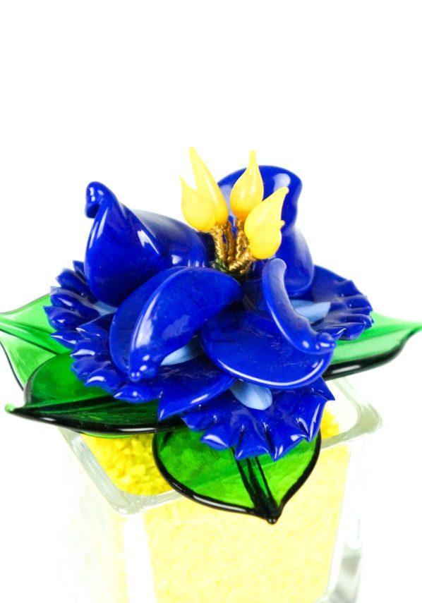 Blue Yellow Murano Glass Flower