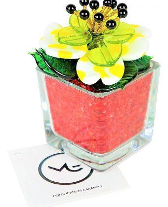 Red White Murano Glass Flower