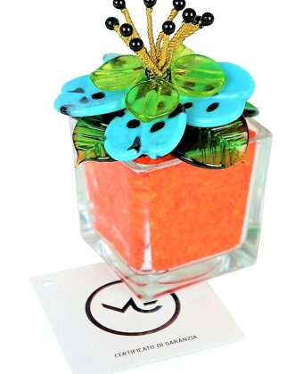 Orange Light Blue Murano Glass Flower