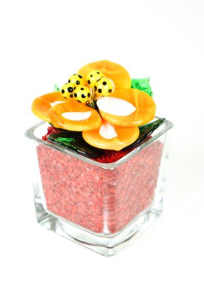 Red Orange Murano Glass Flower