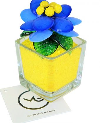 Yellow Light Blue Murano Glass Flower