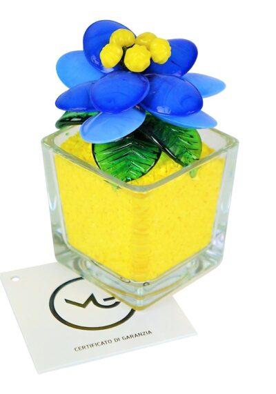 Fiore Vetro Murano Giallo Azzurro