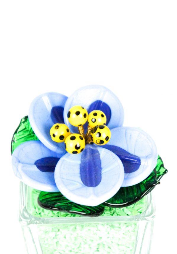 Green Light Blue Murano Glass Flower