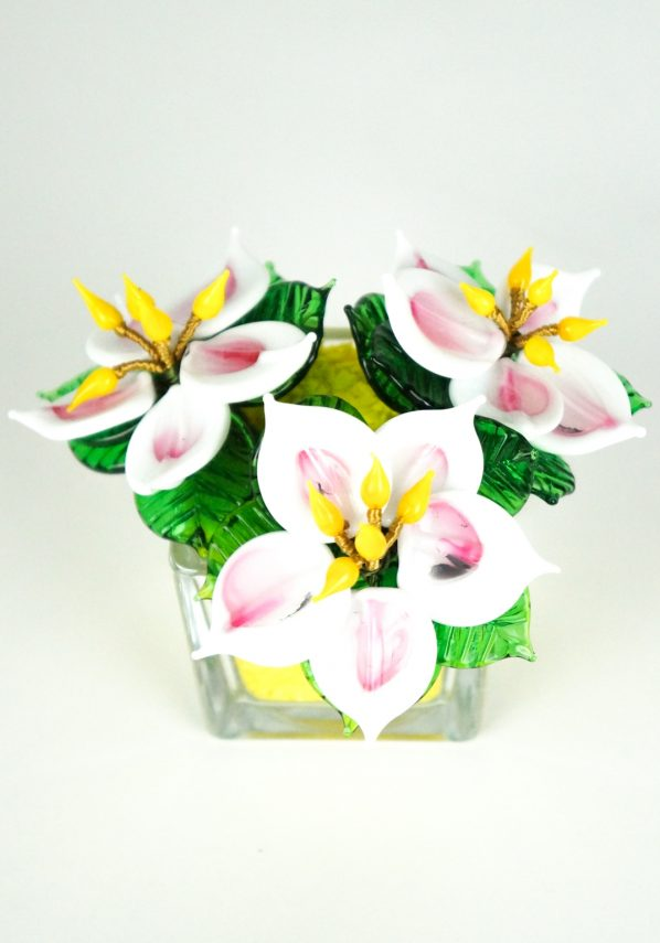 Yellow White Murano Glass Flower