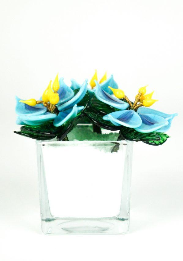 White Light Blue Murano Glass Flower