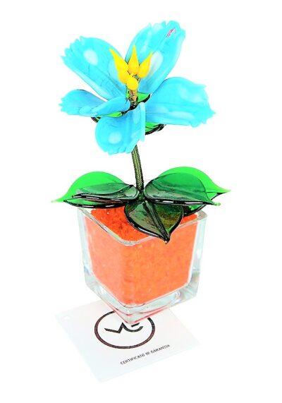 Fiore Vetro Murano Arancio Celeste