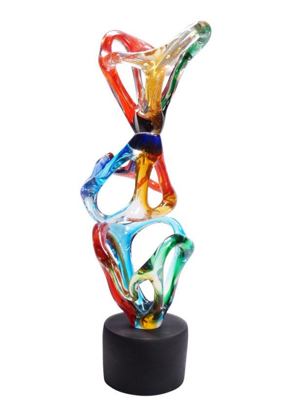 Cone - Multicolored Abstract Sculpture In Murano Glass
