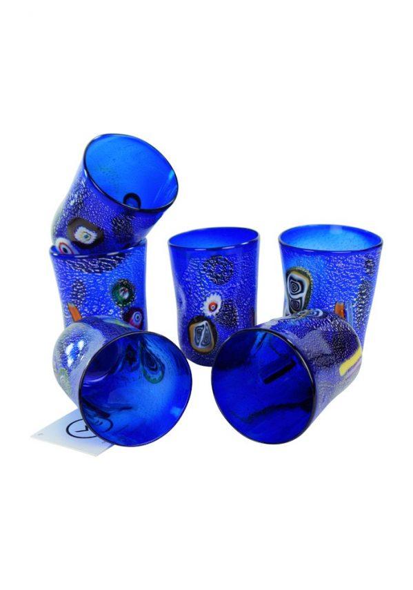 Blue Sea - Set Di 6 Bicchieri Blu In Vetro Murano Blue Drinking Glasses