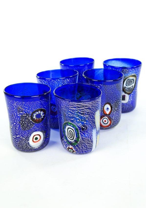 Blue Sea - Set Of 6 Blue Murano Drinking Glasses