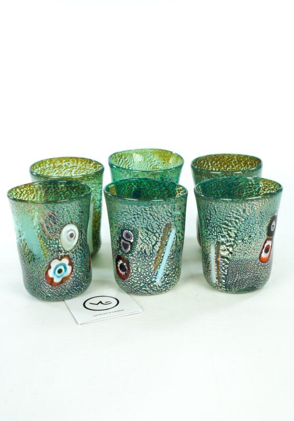 Adriatic - Set Of 6 Marine Green Murano Drinking Glasses