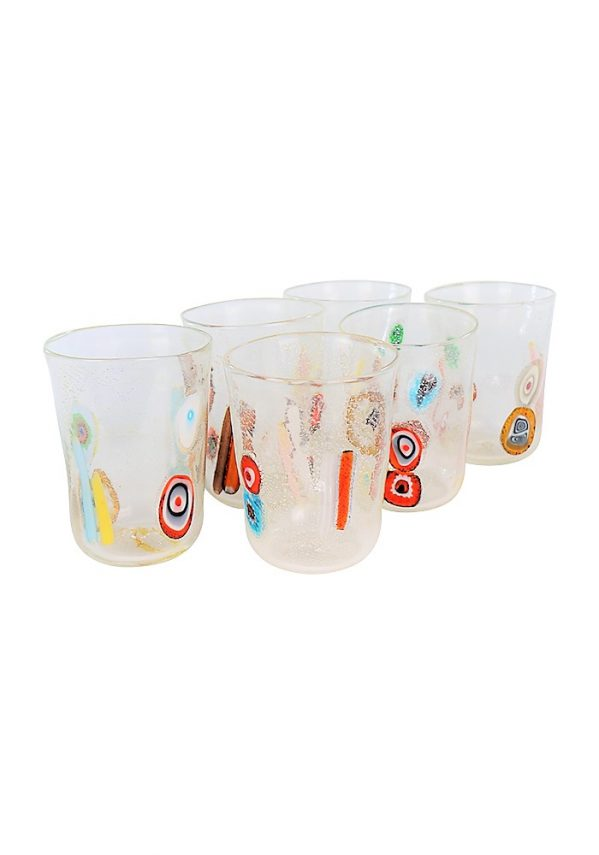 Shiny - Set Of 6 Crystal Murano Drinking Glasses