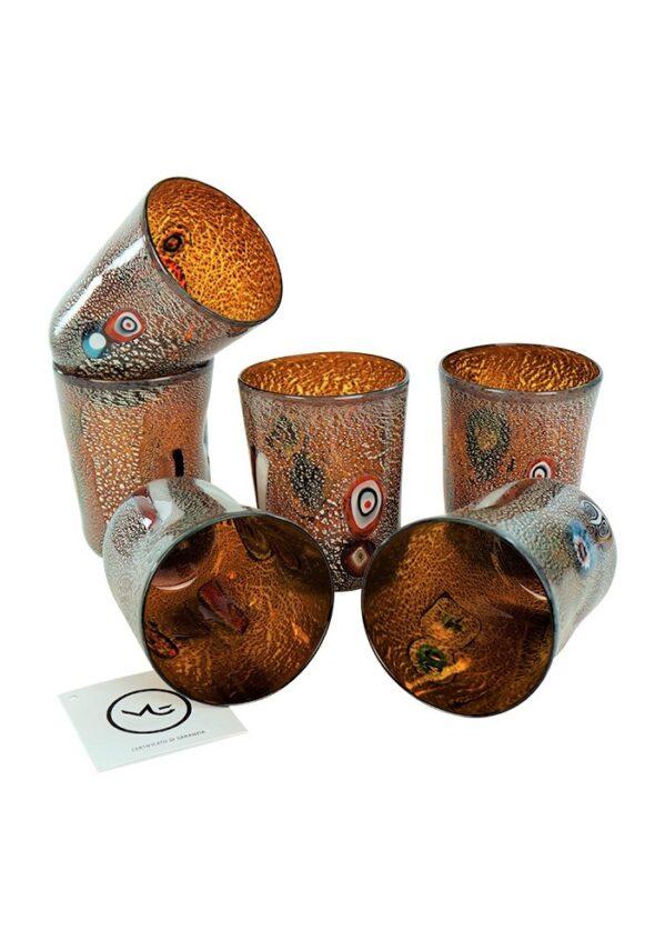 Land - Set Di 6 Bicchieri Tabacco In Vetro Murano Tobacco Murano Glasses