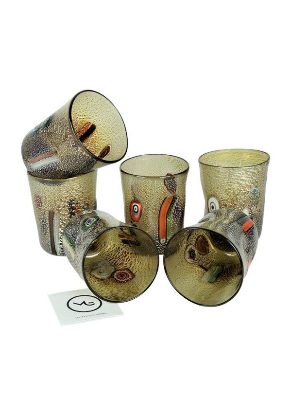 Fury - Set Di 6 Bicchieri Grigio In Vetro Murano Grey Murano Glasses
